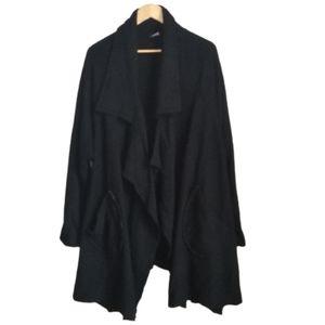 MAI Winter Canadian Black Boiled Wool Lagenlook Open Front Long Coat Size 16